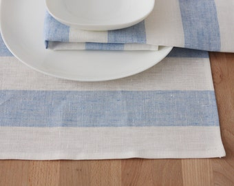 Set of 4 linen Placemats Striped White Blue
