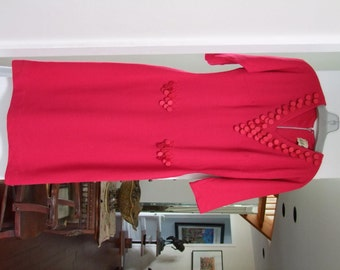 Vintage Raspberry Wool dress Abella Couture Paris ala 1960s ON SALE
