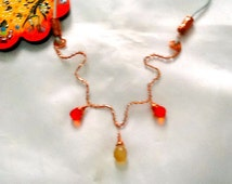 SALE --MOROCCAN STAR - wire wrapped copper necklace-Oriental Necklace