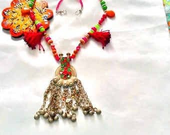 Tribal KUCHI necklace with dangle and tassels , bohemian gypsy dangle necklace , tribal KUCHI belly dance necklace, middle eastern gypsy