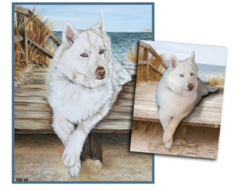 CUSTOM PET dog painting original oil painting puppy art great gift husky 11x14 made to order by Heather Hughes
