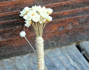 Ready To Ship Preserved Star Flowers Twine Boutonniere- Groom, Groomsmen, Wedding, Wedding Flowers, Woodland Wedding, Rustic Wedding