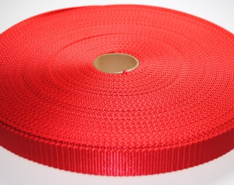 """1"""" Red Nylon Heavy Weight Webbing - Two or Five Yards - More Available"""