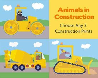 Construction Nursery Art - Bulldozer, Excavator, Steamroller, Dump Truck, Cement Mixer, or Forklift (Choose Any 3 Prints)