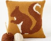 squirrel cushion pillow crochet pattern woodland home decor nursery mustard yellow red squirrel animal cushion