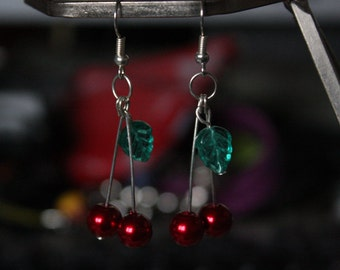 pinup rockabilly 50's chic cherry dangle earrings