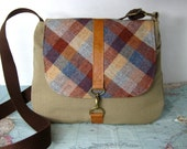 Montana-- Crossbody messenger bag // Adjustable strap // Vintage wool // Ready to ship