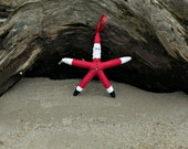 Beach Christmas Ornament - Beach Decor Starfish Santa Christmas Ornament - REAL Starfish Ornament - Nautical Ornament