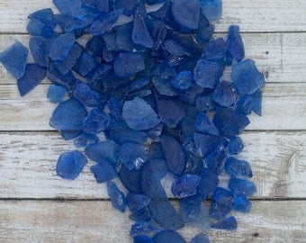 Sea Glass - Beach Decor - Nautical Decor - Beach Glass in Blue - 2 lb Bulk Man-Made Blue Sea Glass - Beach Wedding Decor-Bulk Craft Supplies