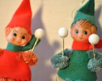 Pair of Pixie Elves - Drummer Elves - Drummer Pixies - Red and Green Pixies - Elf Ornaments - Retro Pixies - Chenille Elves
