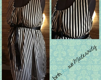 Maternity Hospital Gown- black and white stripe: damask band