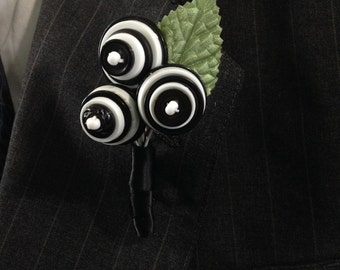 Wedding Boutonniere or Pin On Corsage Black and White Button Blossoms