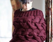 Chunky Sweater Merlot Knit Poncho Cabled Handknit Sweater