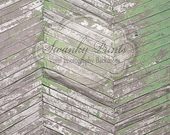 NEW ITEM 4ft x 4ft Vinyl Photography Backdrop  / Gray and Green Chevron Wood
