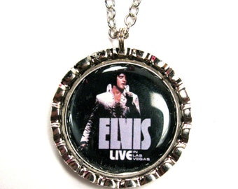 Elvis Live bottle cap necklace chain included