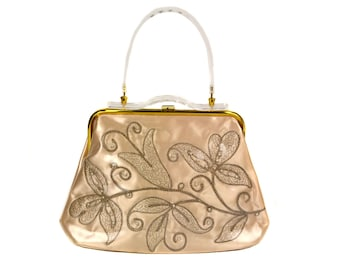1950s Pale Pink Embroidered, Beaded, Carved Lucite, Clear Vinyl Handbag //Champagne Blush Pearls //Large Vintage Purse Made in Miami Florida