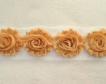 Shabby Chiffon Rose Trim, Shabby Flower, Mustard, 1 yard
