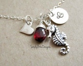 Silver seahorse necklace-STERLING SILVER- Red garnet birthstone, personalized initial, monogram charm, seahorse jewelry, love for seahorse