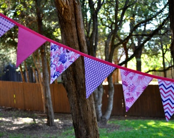 Pink & Purple Princess fabric pennant banner bunting, Princess birthday party decoration, girls room, playroom decor, photo prop