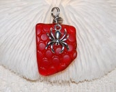 Bubbly Bright Red sea glass style recycled glass pendant with spider