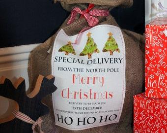 Personalised Santa Sack - Christmas - Personalised -  Christmas Sack - GIft Bag - Christmas Tree