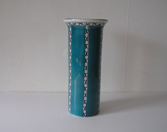 English Blue Organic PatternTall Pottery Vase