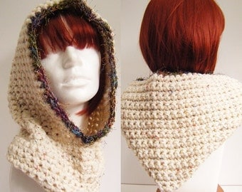 Hooded Cowl Natural White Crochet Snood Pixie Hood with Multicoloured Trim