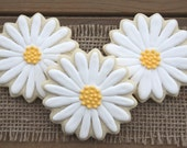Flower Favors / Gifts for Mom / Garden Party Favors / Thinking of You Gifts / Bridal Shower Favors / Daisy Sugar Cookies - 12 cookies