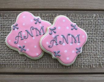 Personalized Party Favors / Bridal Shower Favors / Baby Shower Favors / First Birthday Favors / Square Plaque Sugar Cookies - 12 cookies
