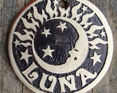 Dog Tag / Pet Tag / Dog ID Tag / Etched Brass Pet Tag / Sun and Moon