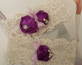 Ivory and Purple Stretch Lace Garter Set, Stretch Garters, Purple Garters, Bridal Garters, Wedding Sets