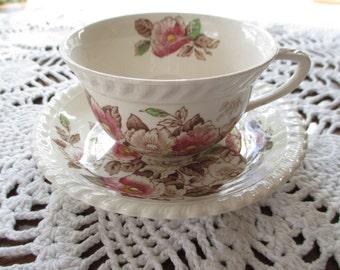 Johnson Bros. Windsor Ware Tea Cup & Saucer - Appleblossom Pattern