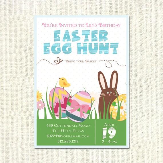 Custom Printable Easter Egg Hunt Birthday Party Invitation