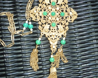 Vintage  Ornate Filigree Golden looking metal Setting with Pearls and Green Jade Gems, Excellent Statement Piece for Formal or Casual attire