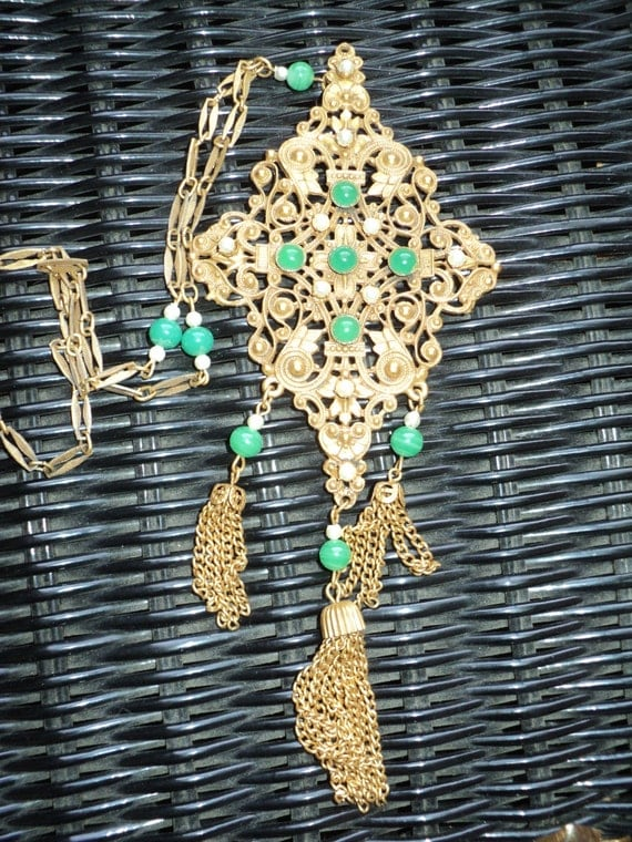 Vintage Pendant Statement Piece Necklace, Ornate Filigree Golden looking metal  Setting with Pearls and Green Jade Gems