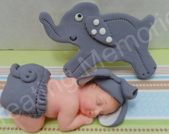 GREY ELEPHANT BABY - elephant baby cake topper. Great for baby showers, first birthday or any occasion