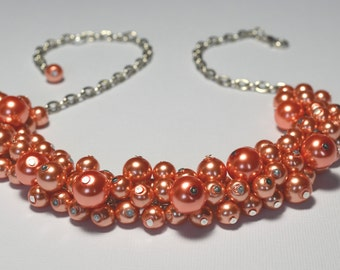 Coral Cluster Pearl Necklace, Coral Pearl Necklace, Coral Necklace, Coral Chunky Necklace, coral bridesmaid necklace, FREE SHIPPING