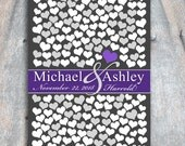 Unique Wedding Keepsake Poster | Bridal Shower Gift Heart Guestbook 205 Guests 20x30 | Dark Purple New Modern Guest Book Alternative_05
