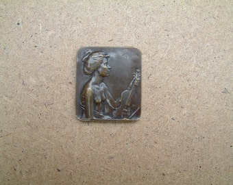 Vintage antique bronze Art Nouveau plaque by Henri Dubois