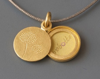 Picture-locket, golden locket, dandelion locket, handmade locket, round locket, dandelions, 18ct gold