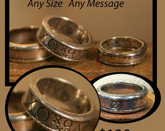 Wide and chunky hand hammered sterling silver message rings. Any Size. Any message that will fit.