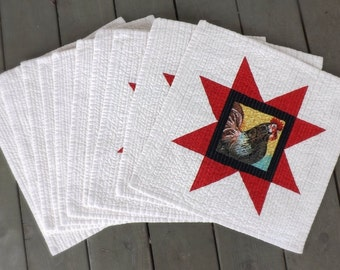 American Red Star Rooster Chicken quilted placemats (set of 10) Farmhouse country heartland home modern folk family dinner americana western