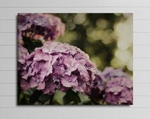 Purple Flower Canvas Wall Art, Large Floral Photography Canvas, Green and Purple Home Decor, Hydrangea Picture , Livingroom Wall Decor