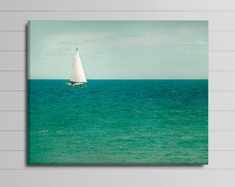Sailboat Canvas Photography, Mint Green Wall Art, Teal Picture, Nautical Canvas Wrap, Coastal Artwork, Lake House Decor, Ocean Canvas