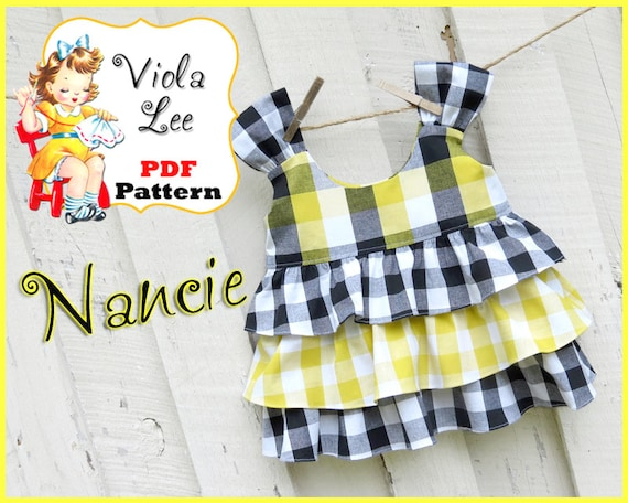 Nancie Girl's Sewing Pattern pdf. Toddler Top Pattern, Girls Top Pattern, cute with Shorts, Capris, Ruffle Pants. Toddler Sewing Pattern.