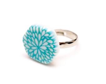 Blue Patterned Porcelain Adjustable Ring