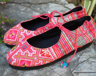 Vegan Womens Shoes Hmong Ballet Flats In Colorful Pink Vintage Hmong Embroidery & Batik - Sabrina