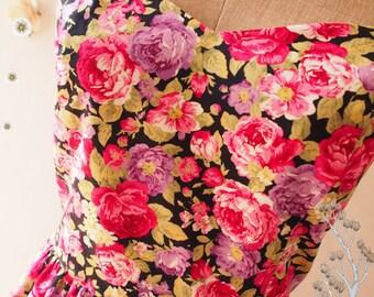 SALE -Floral Tea Dress Navy Pink Purple Floral Dress Vintage Floral Tea Dress Floral Party Prom Dress Bridesmaid Dress -Size M,L