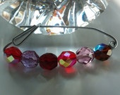 Shades of Red 7mm Faceted Crystal Rounds. Vintage Style Hand Bent Safty Pin, 2inches long, Great Gift, Mothers Day, 751