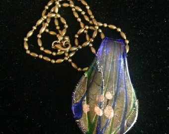 Blue Copper Gold Green Glass Pendant on Brass Chain